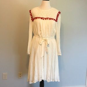 Eloquii white gauze/lace dress Pom poms size 16!